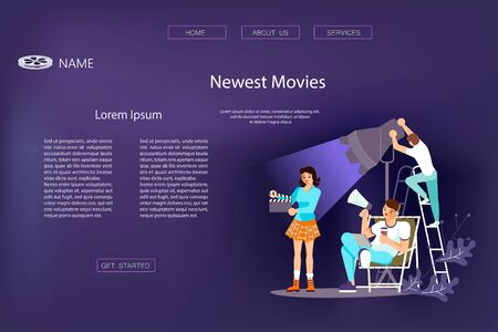 Landing web page template with Movie motion production - the operator adjusts the light, the director speaks in a megaphone, an assistant with a clapperboard. Flat Art Vector Illustration