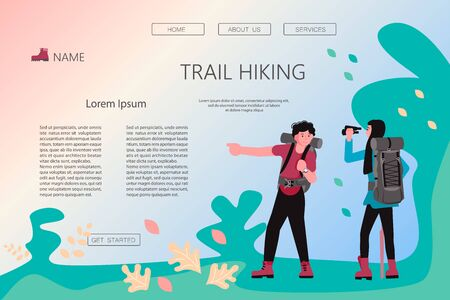 Landing web page template with Hiking trekking people. Happy man and woman backpackers hikers travel together, look through binoculars and show direction. Adventure and camping in nature. Flat Art Vector Illustration