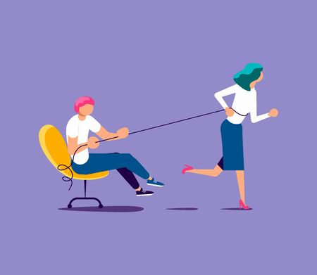 A woman runs and pulls a colleague or boss. Exploitation of employee, inability to delegate authority or leadership metaphor. Isolated on purple. Flat Art Vector Illustration Illustration
