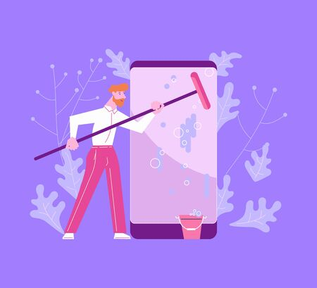 Man from Support service is cleaning the smartphone screen. Operating system update, software updating process of online news metaphor. Flat Art Vector Illustration