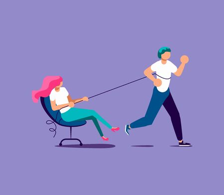 A man runs and pulls a colleague or boss. Exploitation of employee, inability to delegate authority or leadership metaphor. Isolated on purple. Flat Art Vector Illustration Illustration
