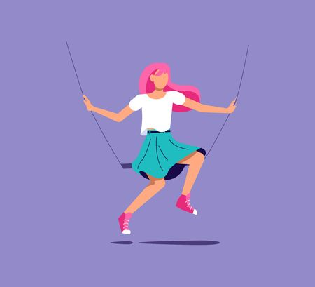 Young female character sitting on a swing and having fun. Emotions and mood metaphor. Isolated on purple. Flat Art Vector Illustration