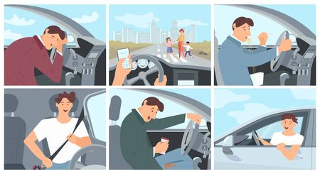 Young driver character in car concept series - fastens the seat belt, sleeping, eating noodles and drinking coffee. ?ollection of driving cases. Flat Art Vector Illustration