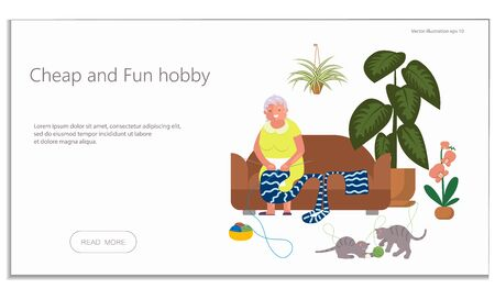 Landing web page template with old lady, floriculture and knitting hobby and Urban jungle concept.  Elderly woman sits on couch and knits knitwear between home flowers. Flat Art Vector Illustration