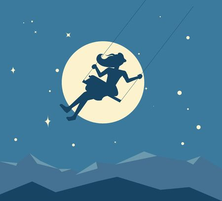 Silhouette of a young girl swinging on a swing against the background of the moon and the starry night sky. Daydreaming and nostalgia metaphor. Flat Art Vector Illustration