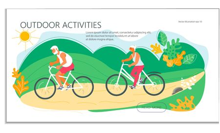 Landing web page template with Summer outdoor activity cycling. Couple of seniors on bicycles. Flat Art Vector Illustration
