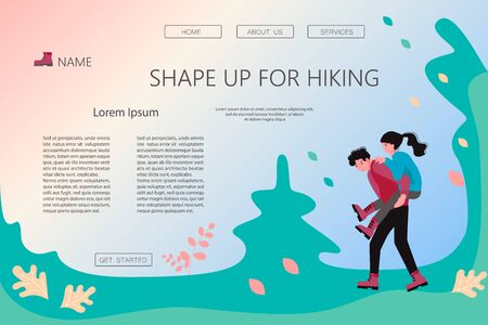 Landing web page template with Hiking trekking people. Happy man and woman backpackers hikers travel together. Bundle of adventure and camping in nature. Flat Art Vector Illustration