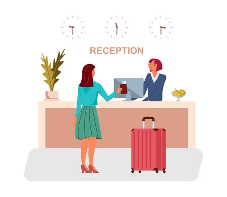 Tourist woman or traveller with suitcase stands at reception desk and gives reservation papers to receptionist. Check into or check out a hotel or hostel concept. Flat Art Vector Illustration 向量圖像