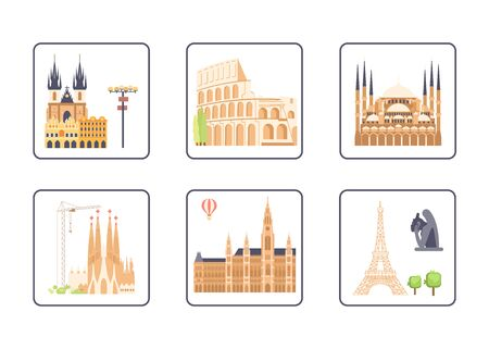 Set of European most renowned sights symbols. Architectural outside