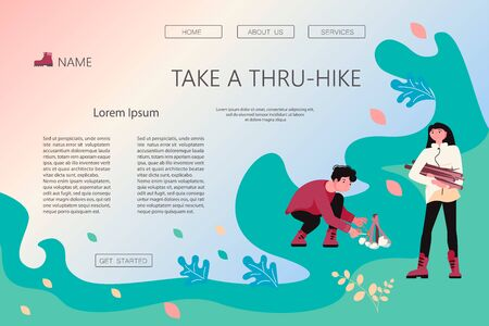 Landing web page template with Hiking trekking people. Backpackers hikers travel together, gather firewood and make a campfire. Adventure and camping in nature. Flat Art Vector Illustration