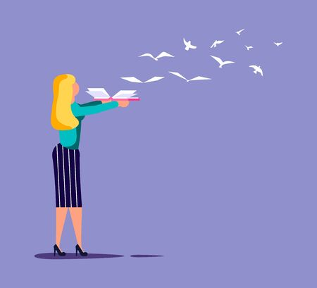 The woman holds open book in his hand, paper pages became to the flock of birds and fly away. Education or reading metaphor. Isolated on purple. Flat Art Vector Illustration