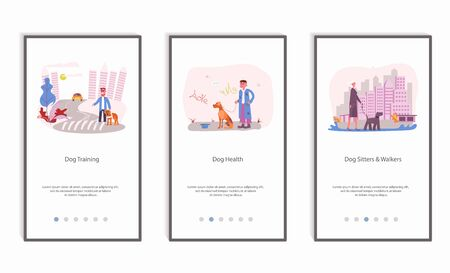 People walking with different breeds of dogs set, mobile app screens set. Ordinary life of pet owners Isolated on white background. Flat Art Vector illustration
