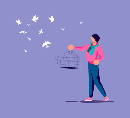 Man lets out the flock of birds from a cage. Freedom and happiness metaphor. Isolated on purple. Flat Art Vector Illustration