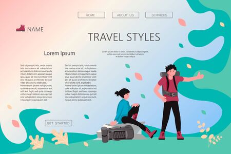 Landing web page template with Hiking trekking people. Happy man and woman backpackers hikers travel together, vote on the road. Adventure and camping in nature. Flat Art Vector Illustration