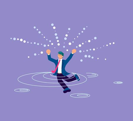 Drowning man wearing in suit sticking out of the water. Financial crisis and Business survive metaphor. Isolated on purple. Flat Art Vector Illustration Vettoriali