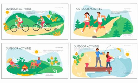 Nature activities set of landing web page template. People performing exercise, fitness training, healthy habits, active lifestyle, outdoor workout. Flat Art Vector Illustration Vettoriali