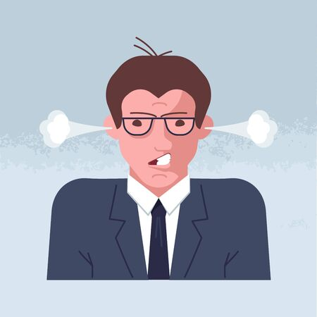 Mental breakdown and personal burnout. Psychological trauma concept. Man head with steam coming out ears as anger and irritation. Flat Art Vector Illustration Ilustração