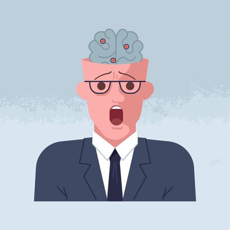 Mental breakdown and personal burnout. Psychological trauma concept. Man head with psychological trauma concept. Flat Art Vector Illustration Vettoriali
