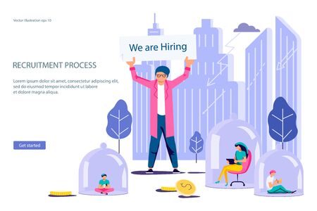 Landing web page template for Hiring employees and new workplaces during lockdown. Expansion and emergence of new enterprises for homeworking concept. Flat Art Vector Illustration