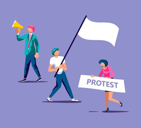 Crowd of people protesters with loudspeaker, placard and raised arm fist. Isolated on purple. Flat Art Vector Illustration