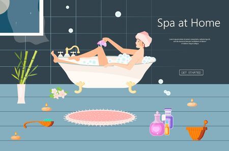 Landing web page template with Young beautiful woman enjoying in bath. Happy and healthy girl have a home spa day. Flat Art Vector Illustration