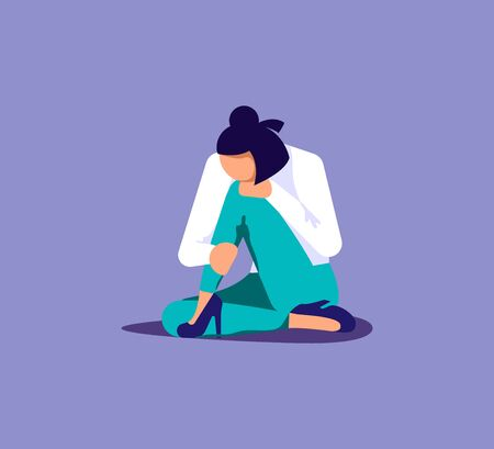 Young sad and unhappy woman sitting on the ground and hugs her knees. Sadness and depression concept. Isolated on purple. Flat Art Vector Illustration Ilustración de vector