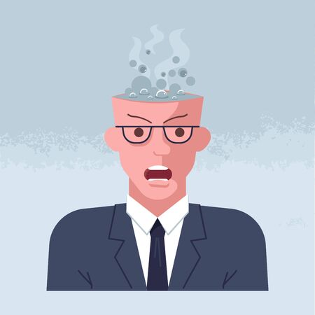 Mental breakdown and personal burnout. Psychological trauma concept. Man head with boiling brain under social demands. Flat Art Vector Illustration