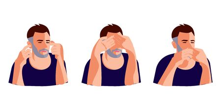 Turning blind eye, ears and mouth cartoon concept. Man refusing to watch, hear or speak, avoiding knowing evident facts. Flat Art Vector Illustration