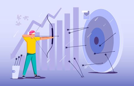 Blindfold businessman aiming from a bow. Wrong business goal solution, miss target, hit off the mark concept. Mistaken strategy and failure metaphor. Flat Art Vector Illustration
