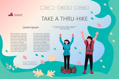 Landing web page template of Hiking trekking people. Happy man and woman backpackers hikers travel together and enjoy their achievements. Adventure and camping in nature. Flat Art Vector Illustration