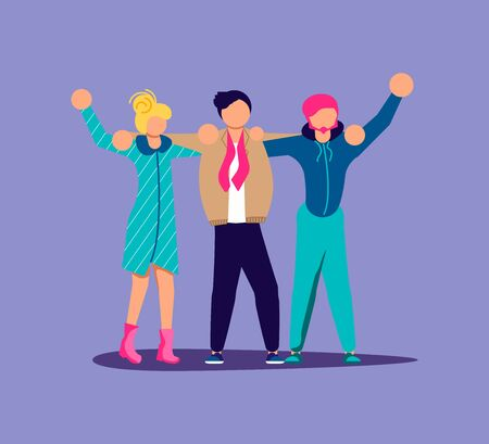 Crowd of people protesters hugging together and raised arm fist. Isolated on purple. Flat Art Vector Illustration