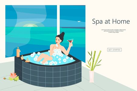 Landing web page template for home spa. Beautiful brunet woman sits in bathtube and drinks a wine. Sunset landscape and candls. Flat Art Vector Illustration Illustration