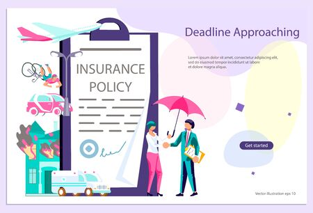 Landing web page template of Insurance service and Protecting Health, Life, and Property Concept. Banner with tiny people insurance agent with an umbrella isolated. Flat Art Vector Illustration