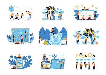 Set of business concept isolated. Design templates of teamwork, investment, marketing strategy, project management, business workflow and consulting. Flat Art Vector Illustration Vektorgrafik