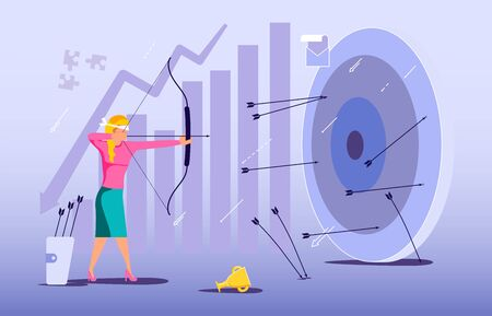 Blindfold businesswoman aiming from a bow. Wrong business goal solution, miss target, hit off the mark concept. Mistaken strategy and failure metaphor. Flat Art Vector Illustration Stock Illustratie