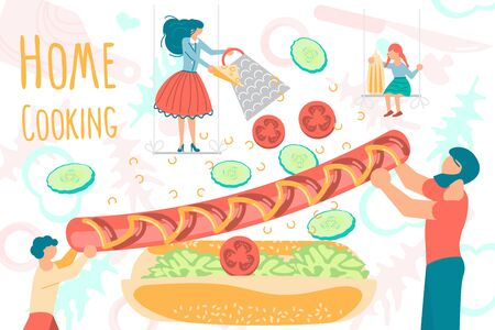 Cute family spending good time together while cooking at home. Tiny people making a hot dog on cooking utensils and ingredients background. Preparing food concept. Flat Art Vector Illustration