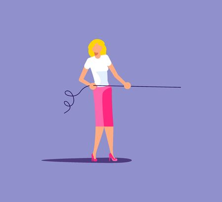 Young woman pull the rope business concept. Tug of war, competition metaphor. Isolated on purple. Flat Art Vector Illustration Illusztráció