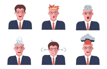 Set of Mental breakdown and personal burnout. Psychological trauma concept. Man head with burning brain under work and life problems. Flat Art Vector Illustration