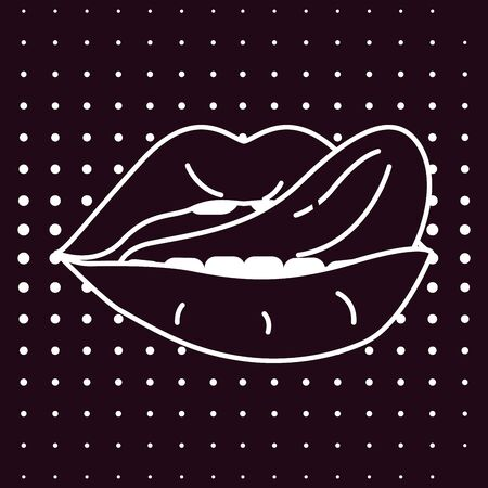 Woman lips pop art retro style set. White line mouth with tongue sexually licks her lip on black background. Vector Illustration Vettoriali