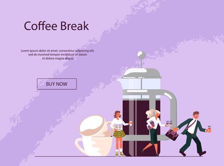 Landing web page template for coffee shop with tiny people and large cup of coffee. Concept of coffee break at work, coffee to go, communication and relaxation during lunch. Flat Art Vector Illustration