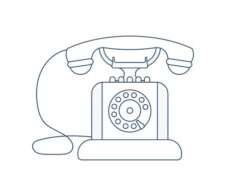 Retro Phone isolated on white background. Vintage Telephone in outline modern design. Flat Art Vector Illustration