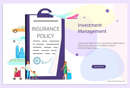 Landing web page template of Insurance service and Protecting Health, Life, and Property Concept. Banner with tiny people traveling with luggage isolated. Flat Art Vector Illustration Vectores