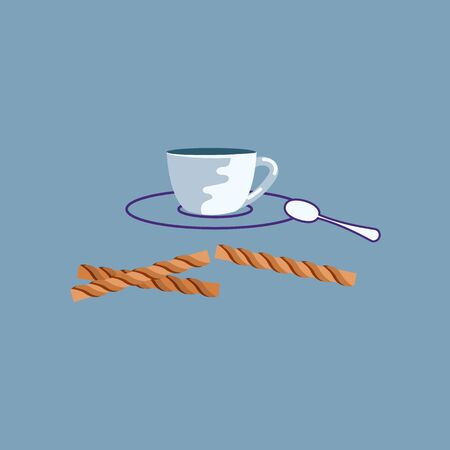 Outline Cup of Tea Icon. Hot beverage mug symbol, coffee break 向量圖像