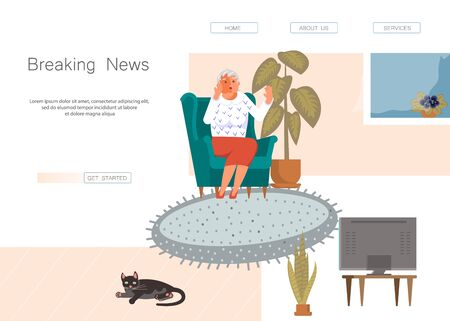 Landing web page template with fake news concept. Old woman  in shock is watching the news while sitting in the armchair. Flat Art Vector Illustration