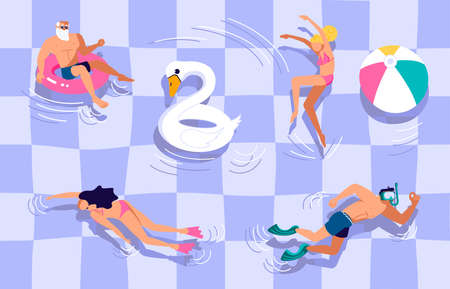 Open-air swimming pool party banner. People swimming, diving and having fun at outdoor. Modern colorful Flat Art Illustration