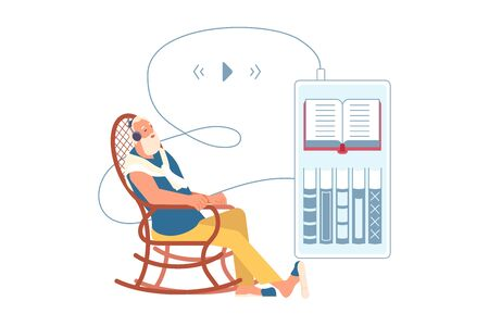 Elderly man listening music or audiobook through headphones. Grandfather is using digital technology audio book from smartphone sitting in rocking chair. Flat Art Vector Illustration