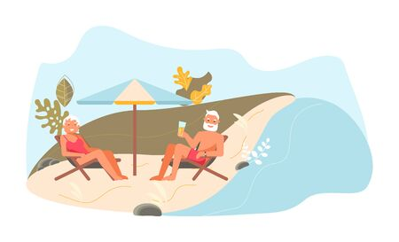 Romantic elderly couple at picnic. Elderly smiling man and woman are talking on the beach. Cute funny people have relax. Flat Art Vector Illustration