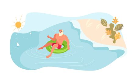 Young man floating on inflatable ring. Young smiling man have summer activity at sea. Flat Art Vector Illustration