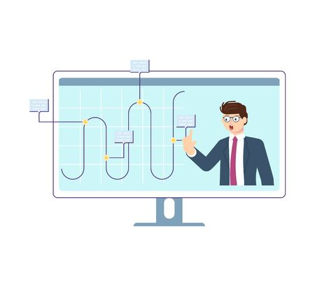 Conference video call, virtual meeting with colegues, relatives or friends and working or learning from home concept. Flat Art Vector illustration