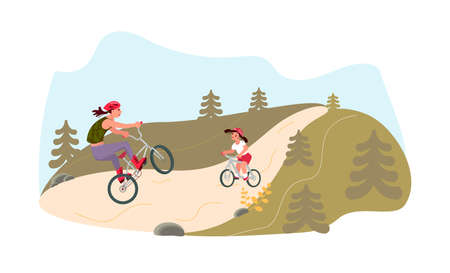 Mother and daughter are riding bikes. Biking hobby, summer family activity. Flat Art Vector illustration